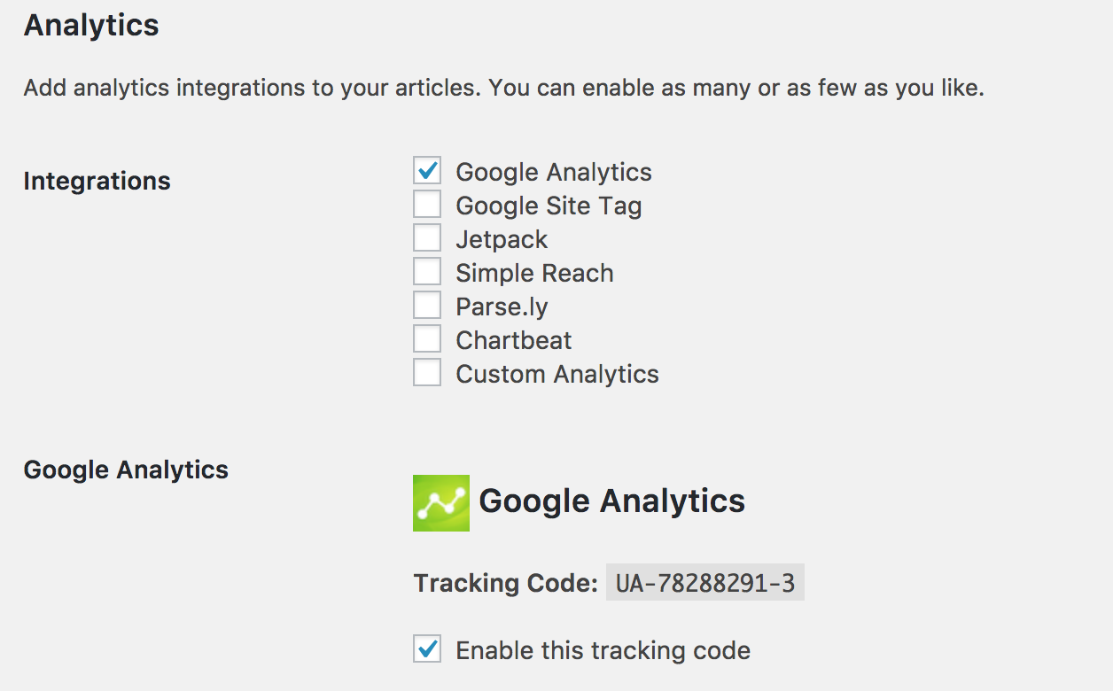 Google Analytics Integration in Instant Articles