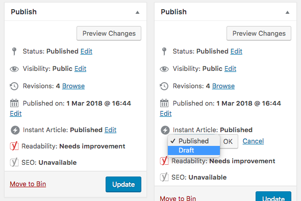 Manage your Instant Articles from the WordPress Posts page