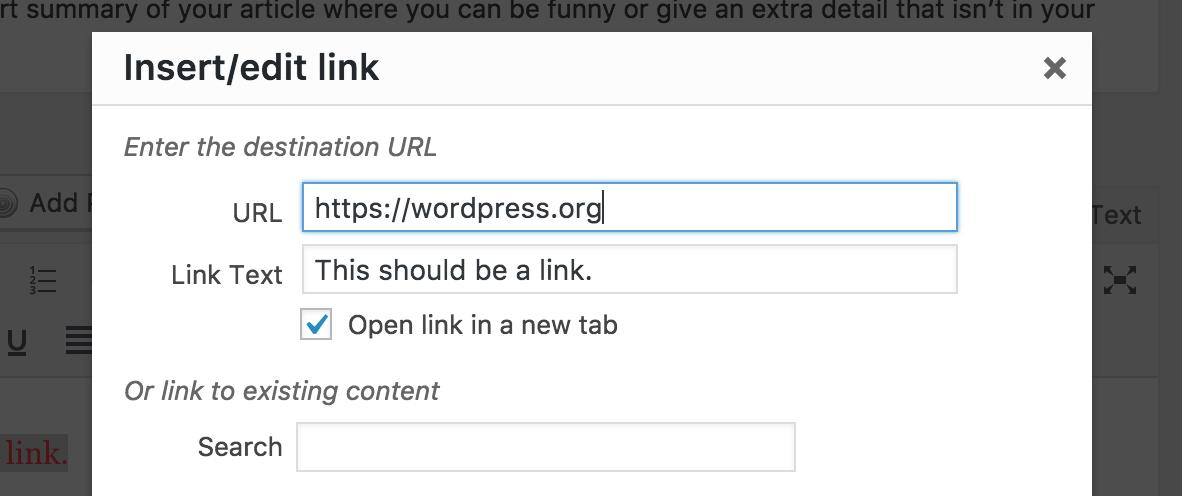 WordPress auto target blank