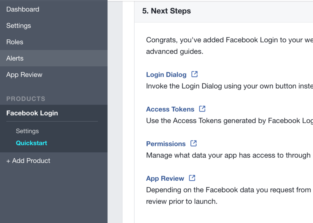 Facebook Login Settings Link