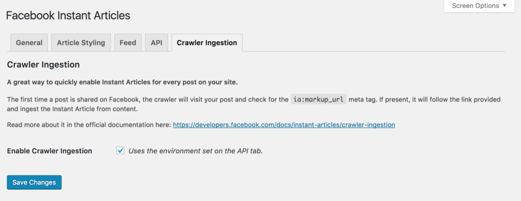 Facebook Instant Articles Crawler Ingestion